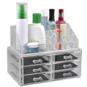Cosmetic Make Up Clear Acrylic Organiser Display Stand Organiser Case with 6 Drawers Insert Holder Box