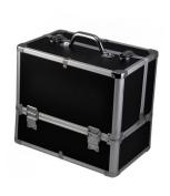 chinkyboo Professional Large Aluminium Beauty Make Up Nail Cosmetic Box Storage Vanity Case - Black