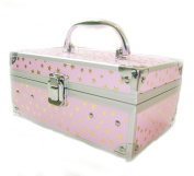 Geneva Cosmetic/Jewellery Beauty Case Pink with Gold Stars