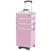 Beautify Professional Pretty Pink 4-in-1 Aluminium Cosmetics Case Beauty Trolley/Vanity Box