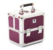 Urbanity Purple Crocodile Aluminium Makeup Cosmetic Beauty Case