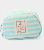 Pretty Stripe Storage Stationery Pencil Case Cosmetic Makeup Bag Zipper Blue New