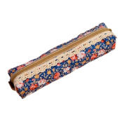 Women's Flower Floral Lace Pencil Pen Cosmetic Bag Zipper Pouch