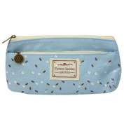 Light Blue Double Zipper Students Stationery Large Cosmetic Pen Pencil Bag Hot