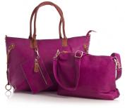 Big Handbag Shop Womens Top Zip Opening 3 in 1 Tote Shopper Bag with Medium Long Strap and Make up Bag