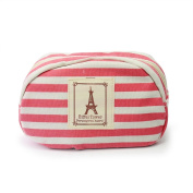Lovely Stylish Stripe Girl Canvas Storage Pencil Cosmetic Bag Zipper Wallet Red
