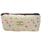 Soft Cotton Countryside Floral Pencil Pen Case Cosmetic Makeup Bag Pouch - Beige