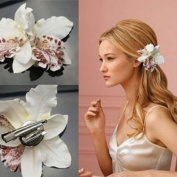 Pinzhi Lady Women Girls Elegant Orchid Flower Leopard Hair Clip for Wedding Bridal White