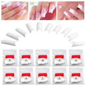 TRIXES 500 White French False Acrylic Nail Art Tips Gel Makeup