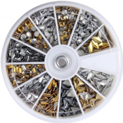 So Beauty 600 pcs 3D Design Nail Art Different Metallic Studs Gold & Silver Stud Wheel Manicure