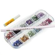 3000 NAIL RHINESTONE 1.5MM ROUND DIAMANTE ART DIAMOND 12 COLOURS FREE CASE FREE PICKER FREE GLUE