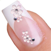White Flower Daisy Nail Stickers Art / Decals with Rhinestone