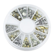 6 Style 3D Design Nail Art Tips Decoration Metallic Studs Gold Silver Stud Wheel