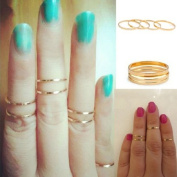 Atdoshop(TM) 5PCS/Set Rings Urban Gold Stack Plain Cute Above Knuckle Ring Band Midi Ring