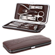 12pcs Manicure Pedicure Set Nail Scissors Nail Clippers Kit with Leather Case Brown
