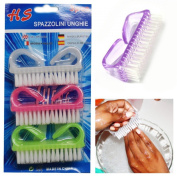 3 Pcs Nail Cleaning Hand Scrubby Manicure Finger Clean Plastic Dusting Brushes