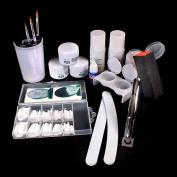 NAIL Art Manicure Kit Nail Tips Acrylic Powder False Nail Pliers Full Set NEW