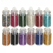12pcs Mini Bottles Nail Art Tips Caviar Beads Balls Glitter Manicure Decoration