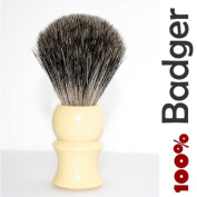 Pure Badger Hair Shaving Brush, Ivory-Coloured Solid Plastic Handle - It Won't Disappoint You!