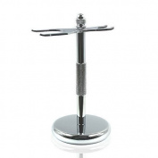 Stylish Chrome Razor & Shaving Brush Shaving Stand Holder Drip Stand