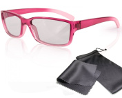 "3D Movie Glasses for Children - pink / transparent - for RealD cinema use and passive 3D TVs such as LG ""Cinema 3D"" and Philips ""Easy 3D""- circularly polarised - with pouch"