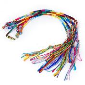 9 x Hippie Style Colourful Braided Thread Friendship Bracelets Wrist Ankle Bracelet -  Assorted Colours