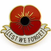 NEW RED POPPY LAPEL PIN ENAMEL BADGE White Ribbon lest we forget REMEMBER THEM WW1 CENTENARY Remembrance Day