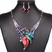 Colourful Enamel Leaf Festoon Necklace Earrings Set