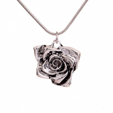 Vintage Tibetan Silver Rose Flower Necklace