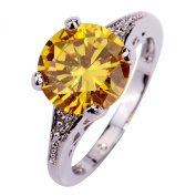 Yazilind Women's Ring with Round Cut Citrine White Topaz Gemstones Silver Ring Size O Christmas Gift Wedding Party