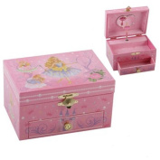CHILDRENS GIRLS PINK FAIRY MUSICAL JEWELLERY TRINKET BOX WITH ROTATING BALLERINA