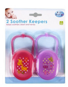 First Steps Pack of 2 Soother & Dummy Cases in Pink & Purple