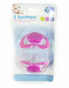First Steps Pack of 2 Dummies with Cherry Teat in Pink