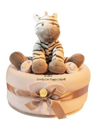 Large Nappy Cake Unisex Baby Gift with Zebra soft Toy FREE Delivery