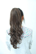 Clip in Hair Extension Ponytail Curly Wavy Dark brown/auburn 2/33