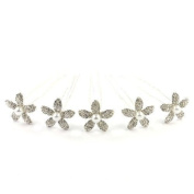 Bride Boutique Bridal Wedding Silver Crystal Diamante & Pearl Lily Flower Hair Pins Clips Grips