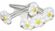 5 Daisy Hair Pins Clips Flower Bridal Hair Floral Festival Grips Silver Prom Exclusively Sold By Starcrossed Beauty g75