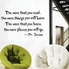 "Dr Seuss ""The More You Read.."" Quote Wall Decal"
