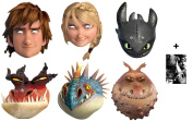 Mask Pack - How To Train Your Dragon 2 - Variety Party Card Face Mask Pack of 6 (Hiccup, Toothless,