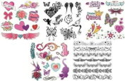 Pack Of 40+ Designs Fake Pretend Temporary Childrens Tattoos For Girls