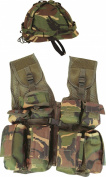 Kids Camo Helmet & Assualt Vest - Fancy Army Soldier Fancy Dress Up Costume Outfit - Fits ages 5-12