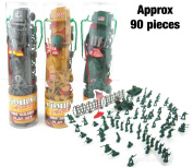 Toy Soldiers, 3 Sets with. itish, American and German Figures. Each Set Includes Jeep, Tank, Flag and Fences.