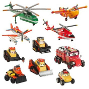 DISNEY PLANES FIRE & RESCUE DELUXE FIGURE PLAY SET - Pontoon Dusty, Blade Ranger, Windlifter, Lil' Dipper, Mayday, Dynamite, Avalanche, Blackout, Drip, Pinecone