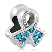 Charm Bead Ribbon Cancer Awareness Turquoise Blue Pugster Charms Fits Pandora