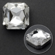 14mm Square Glass faceted Rhinestone with sew-on metal cup, 2 PCS, Crystal, TR-10347