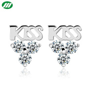 Elegant White Gold Plated Crystal KISS Earring Stub