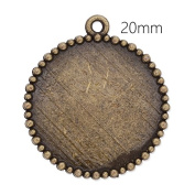 20pcs/lot Special Design Antique Bronze Plated Pendant Trays with 20mm Blank Bezel