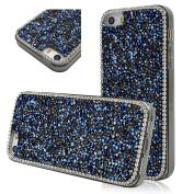 Seedan Glitter Bling Diamond Case for iPhone 5 5S Sapphire Royalblue Crystal Rhinestone Handmade Cover Skin Gel Frame with Dust Plug