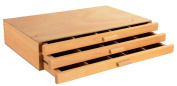 Displays2go ARTSNH8B 3-Drawer Wood Art Box for Paints, Charcoal and Drawing Tools, Beech Wood, Set of 5