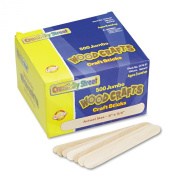 Chenille Kraft Natural Wood Craft Sticks, Jumbo Size, 6 x 3/4, Wood, Natural Wood - 500 per Box